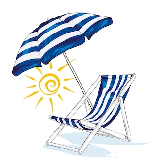 Шезлонг с зонтиком и солнцем