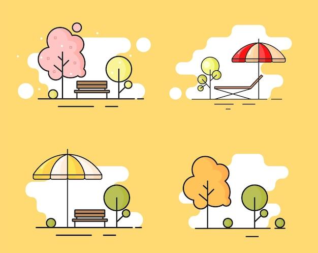 선형 윤곽 평면 스타일의 해변에 우산이있는 갑판 의자