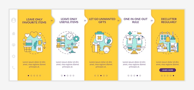 Decluttering advices onboarding template