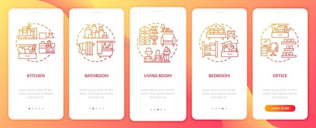 Разблокирование областей, связанных с концепциями экрана страницы мобильного приложения. места в доме для уборки прохождение 5 шагов графических инструкций. шаблон пользовательского интерфейса с цветными иллюстрациями rgb