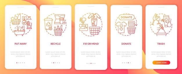 Избавление от загромождения категорий в концепциях экрана страницы мобильного приложения. переработка вещей. разборчивость пошагового руководства 5 шагов графических инструкций. шаблон пользовательского интерфейса с цветными иллюстрациями rgb