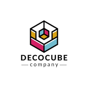 Deco cube colors logo design