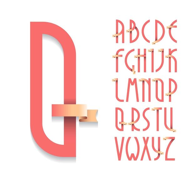 Винтажный плакат деко, шрифт. набор латинских заглавных букв в стиле ретро с лентами.