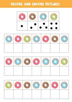 Расшифруйте и закодируйте картинки. логическая игра с милыми мультяшными пончиками.