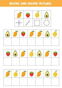 Расшифруйте и закодируйте картинки. логическая игра с милыми мультяшными фруктами и ягодами.