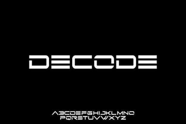 Decode, futuristic geometric font display typeface