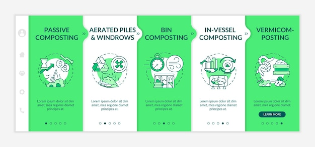Decomposition methods onboarding  template. bin, in-vessel, passive composting. vermicomposting. responsive mobile website with icons. webpage walkthrough step screens. rgb color concept