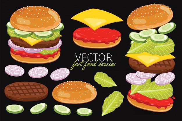 Deconstructed burger ingredients