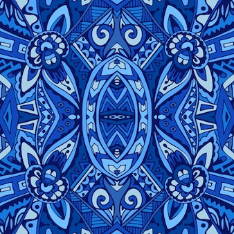 Decor tile texture print mosaic oriental pattern with blue ornament arabesque