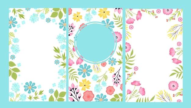 カードセットベクトルイラストで夏の花の芸術の装飾装飾的なornaとヴィンテージの招待状...