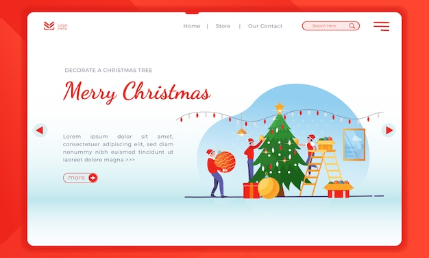 Decorate a christmas tree on landing page template