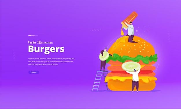 Украсить вкусный бургер иллюстрации концепции