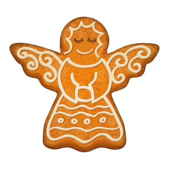 Decorated angel figure. gingerbread cookie.