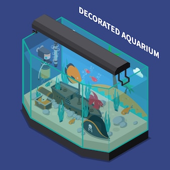 Decorated aquarium isometric composition