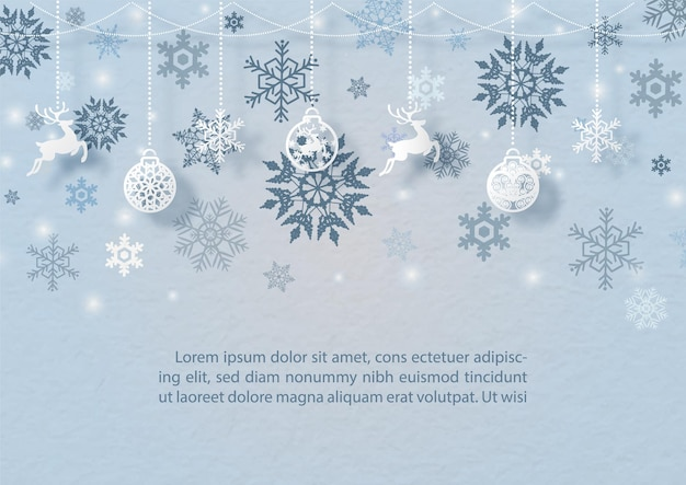 Decorated christmas ball and objects symbol of christmas hang on silhouette snow flakes pattern