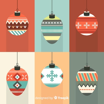 Decorated christmas balls background