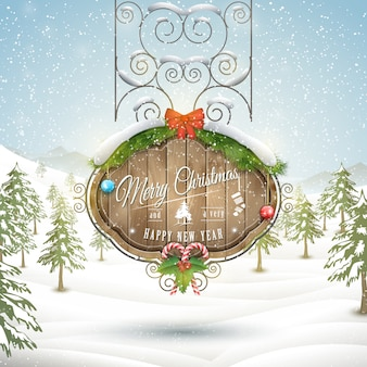 Decorated christmas board illustration.