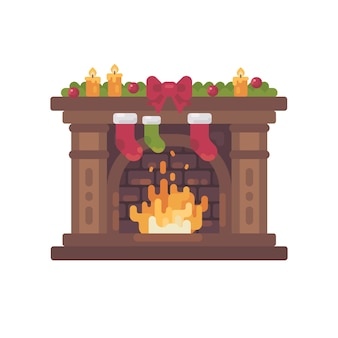 Decorated christmas fireplace with stockings for presents flat illustration