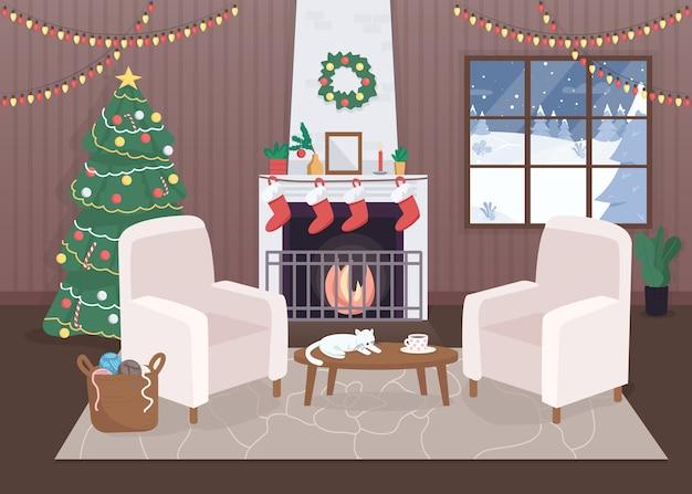 Украшенный рождественский дом внутри плоской цветной иллюстрации