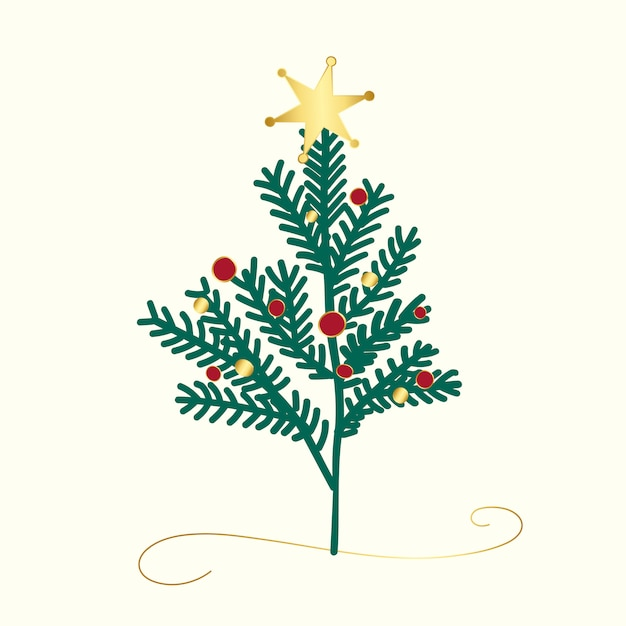 Decorated christmas tree design vector