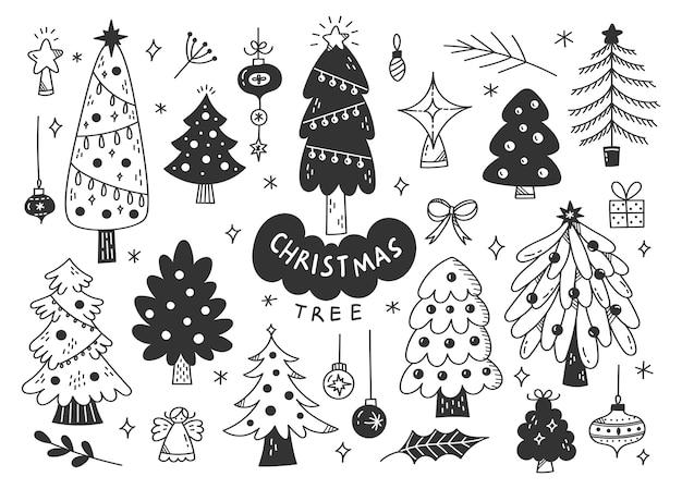 Decorated christmas tree doodle, xmas design elements