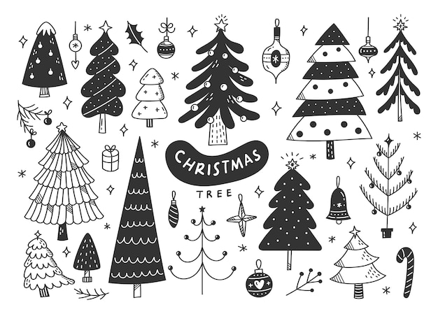 Decorated christmas tree doodle, xmas design elements