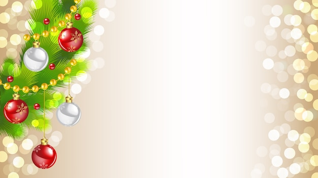 Decorated christmas tree on golden bokeh lights background