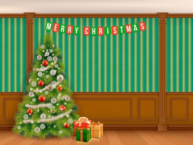 木製の羽目板とピラスターが付いている古典的な部屋の飾られたクリスマスツリー。クラシックなスタイルのインテリアリビングルームまたはライブラリ。