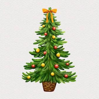 水彩で飾られたクリスマスツリー