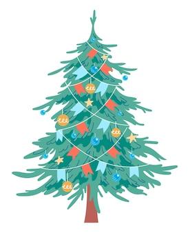 飾られたクリスマスツリー。ベクトル、白い背景で隔離