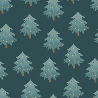 Decorated christmas tree vector seamless pattern