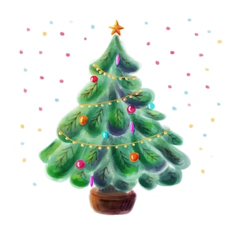 Decorated christmas tree watercolor style