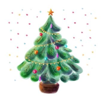 Украшенная рождественская елка в акварельном стиле