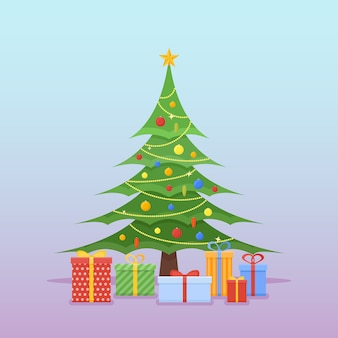 カラフルなつまらないもの、星、ギフトで飾られたクリスマスツリー。