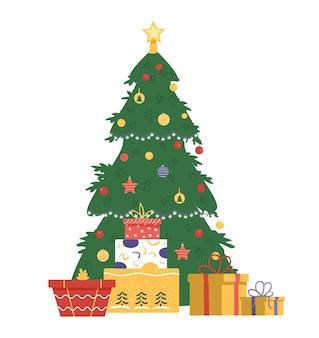 선물 상자 평면 벡터 일러스트와 함께 장식 된 크리스마스 트리. 화이트에 격리.