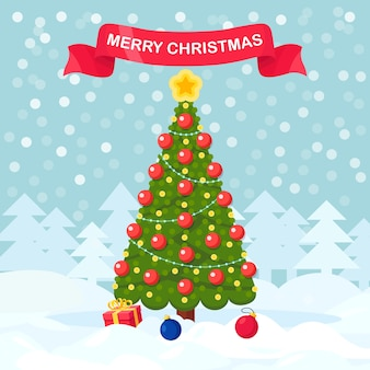 ギフトボックス、星、装飾ボールで飾られたクリスマスツリー。メリークリスマス。