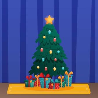 Украшенная елка с подарочными коробками звездные огни украшения шары и лампы с рождеством христовым