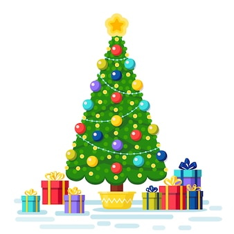 Decorated christmas tree with gift boxes, star, lights, decoration balls. merry christmas and happy new year