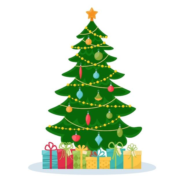 贈り物で飾られたクリスマスツリー。メリークリスマス、そしてハッピーニューイヤー。ベクトルイラスト