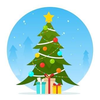 겨울 풍경에 선물로 장식 된 크리스마스 트리