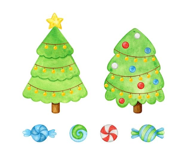水彩で手描きの装飾されたクリスマスツリーとキャンディー