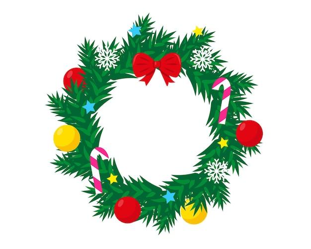 Украшенный рождественский венок на белом фоне новогодние и рождественские украшения