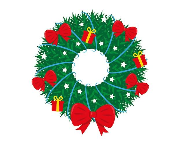 Украшенный рождественский венок на белом фоне новый год и рождество