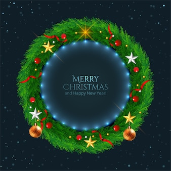 Decorated christmas wreath with stars background