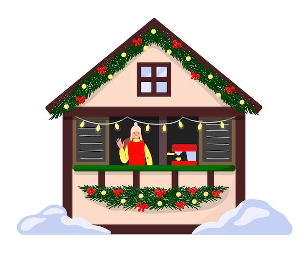 장식된 커피숍 카운터와 박람회장 바리스타 크리스마스 마켓