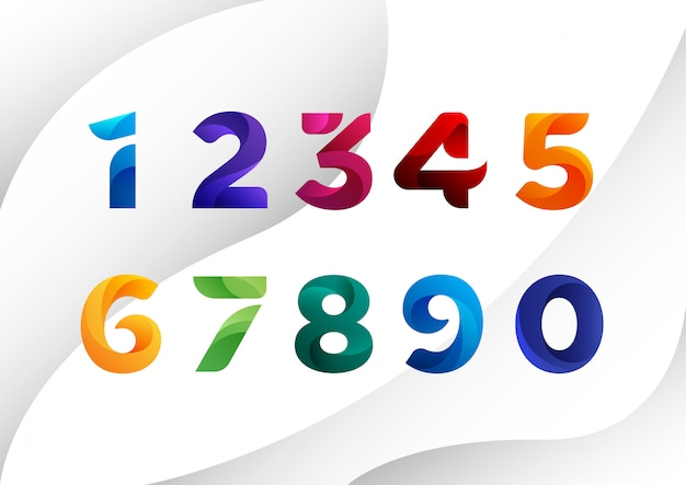 Decorated colorful abstract numbers