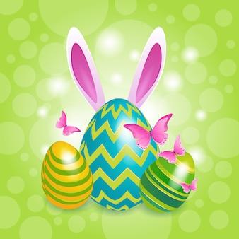 飾られたカラフルな卵ウサギイースター