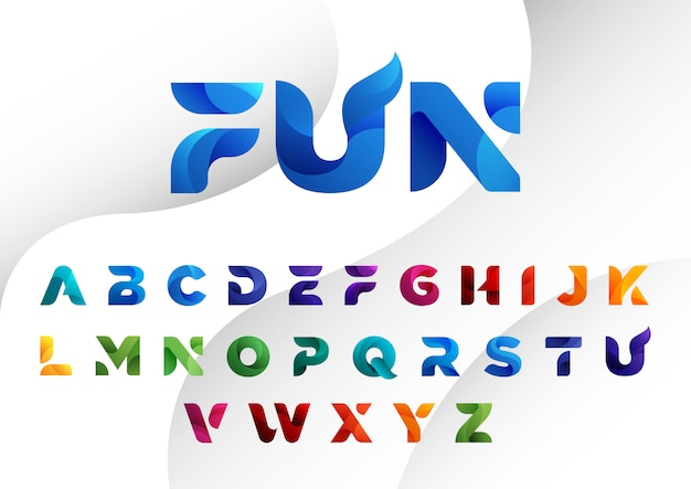 Decorated colorful modern abstract alphabets