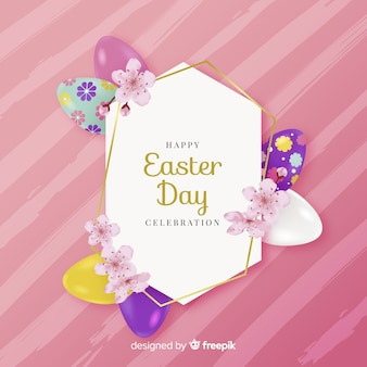 Decorated egg frame easter day background
