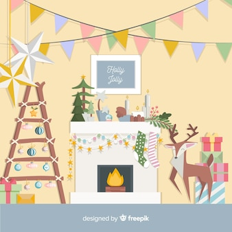 Decorated fireplace christmas background